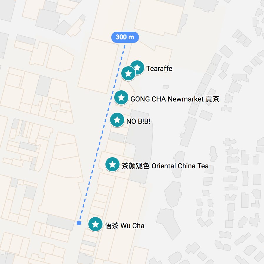A Google map with all 6 bubble tea shops shown